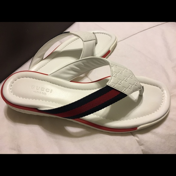 c797b5cf289 Gucci Shoes - RePosh - New GUCCI flip flops! Navy Red stripe.